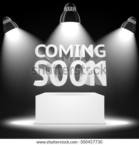 Stage with the spot light projectors lightning the podium with -Coming Soon- message for your business, presentations, offers etc.  - stock photo