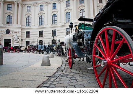 stagecoaches with horses in Vienna, Austria. - stock photo