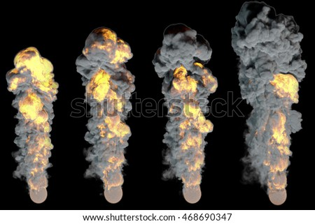 Stages of fiery explosion.Isolated on black background.3D rendering illustration.