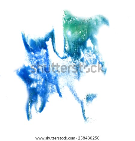 stain blue green with watercolour paint stroke watercolor isolated