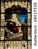 stain glass window at the cathedral basilica st augustine florida usa - stock photo