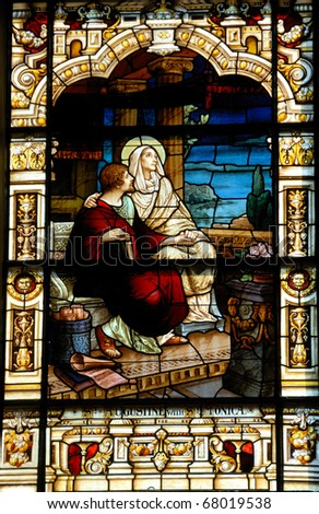 stain glass window at the cathedral basilica st augustine florida usa