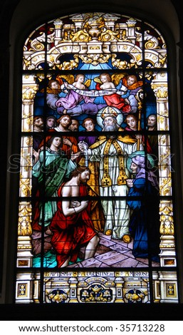 stain glass window photographed at historic church st augustine florida - stock photo