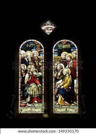 Stain Glass Windows, inside a church - stock photo
