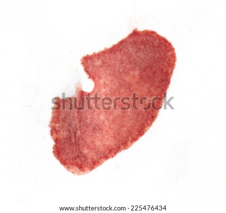 stain of blood on a white background - stock photo