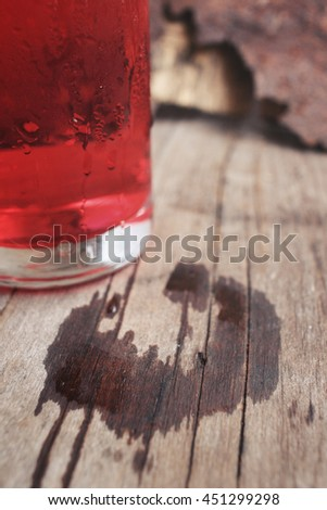 Stain of water with red drink