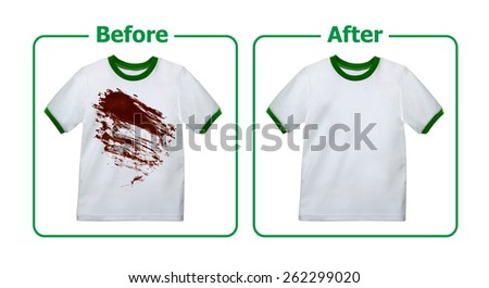 Stain Remover Experiment, Before and After Washing - stock photo