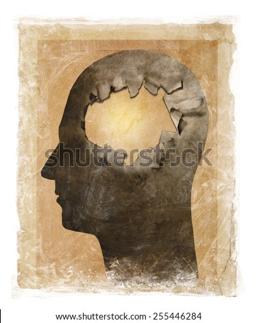 Stained and dirty illustration of a head with a hole. - stock photo