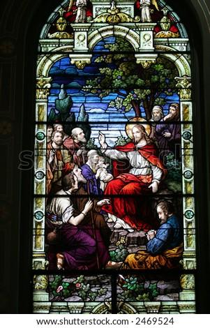 Stained Glass Catholic - stock photo