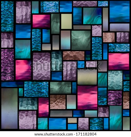 Stained glass church window in a blueish tone, square orientation - stock photo