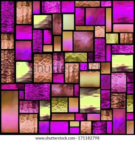 Stained glass church window in a pink tone, square orientation - stock photo