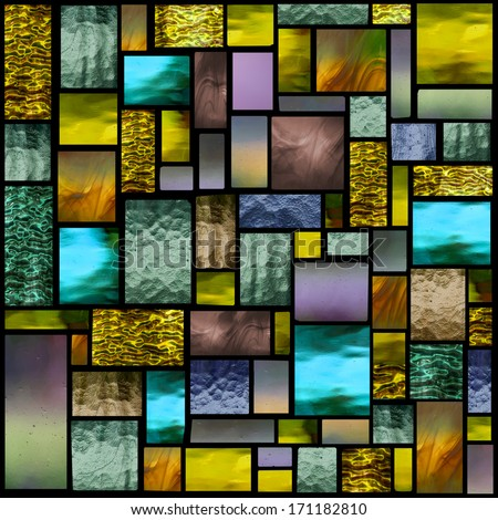 Stained glass church window in a yellow tone, square orientation - stock photo