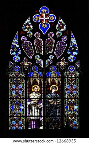 Stained glass church window on black - stock photo