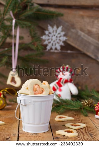 stained glass cookies on Christmas decoration background