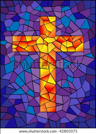 stained glass cross in bright vivid colors - stock photo