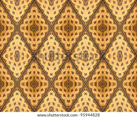 stained glass flower on gold background, Traditional Thai style art on temple - stock photo