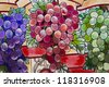 Stained Glass grape clusters (closeup) - stock photo