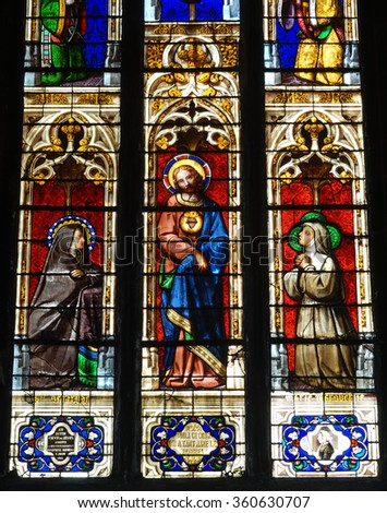 Stained glass in church in Bourg En Bresse