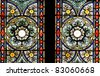 Stained glass in Zagreb cathedral - stock photo