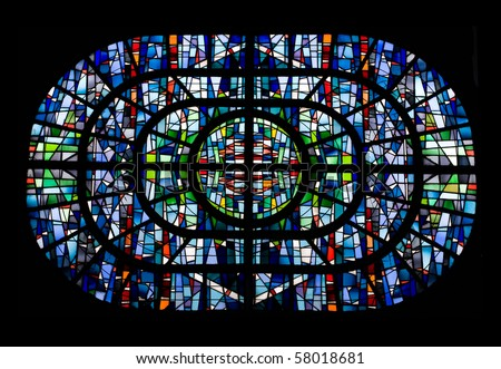 Stained glass isolated on black background - stock photo