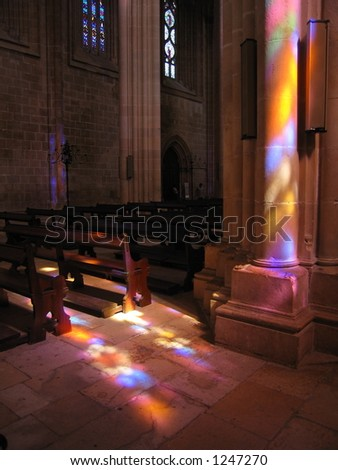 Stained Glass Light in the Batalha Cathedral - stock photo