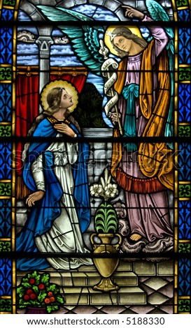 Stained glass of annunciation from Gabriel from a 19th century ( built 1875 - 1899) church.