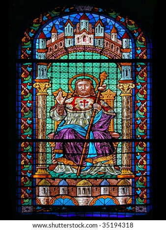 Stained Glass of Saint James Cathedral. Santiago de Compostela, Spain. - stock photo