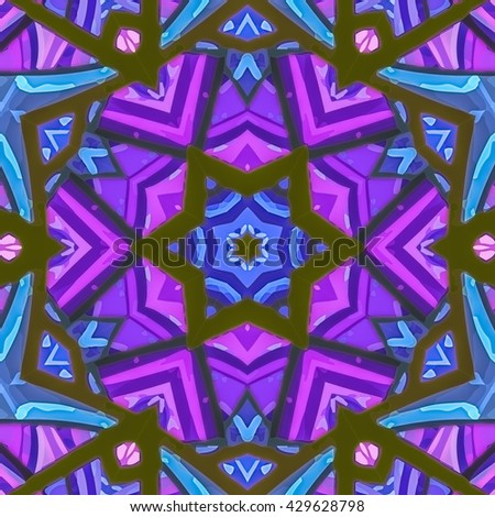 Stained glass pattern. Seamless symmetrical background template.  Multicolored vivid design element. Bright and beautiful kaleidoscopic texture for design uses - stock photo