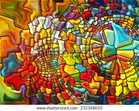 Stained Glass Pattern series. Backdrop of  virtual stained glass fragments to complement your design on the subject of art, craft and design - stock photo