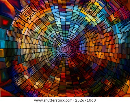 Stained Glass Pattern series. Creative arrangement of virtual stained glass fragments to act as complimentary graphic for subject of art, craft and design - stock photo