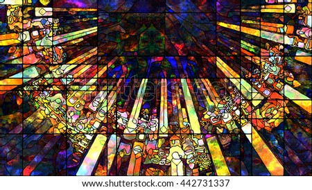 Stained Glass series. Composition of colorful stained glass patterns suitable as a backdrop for the projects on art, design and forces of Nature for extra large displays.