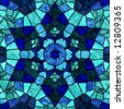 Stained glass six pointed star in shades of blue. - stock photo