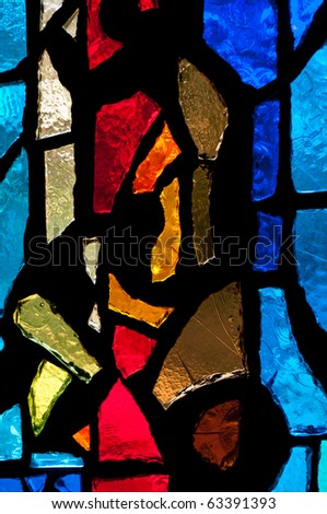 Stained Glass - Vertical Red in Center - stock photo
