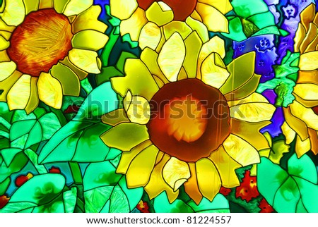 Stained-glass window. Blossoming garden. - stock photo