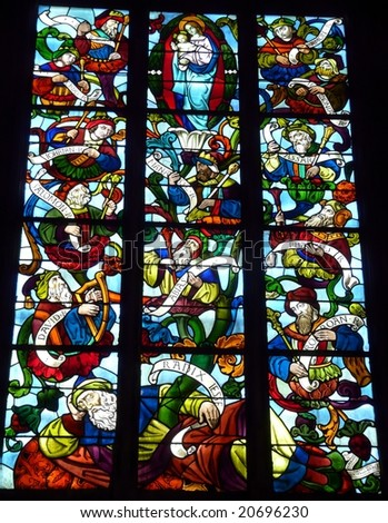 Stained glass window in a church in France