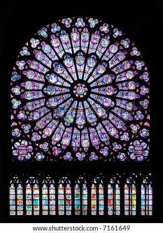 Stained Glass Window In Notre Dame Cathedral Paris France