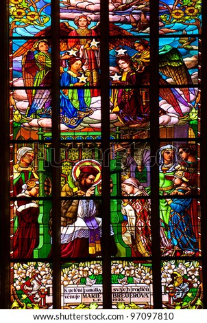 stained glass window in old church - stock photo