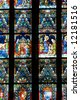 Stained-glass window in St. Matthias church, Budapest - stock photo