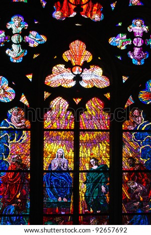 stained-glass window in the St. Vitus cathedral. praha - stock photo