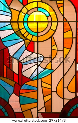 Stained Glass Window like background. - stock photo