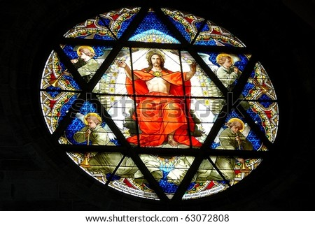 Stained Glass Window of Jesus from Cathedral in Basel, Switzerland - stock photo