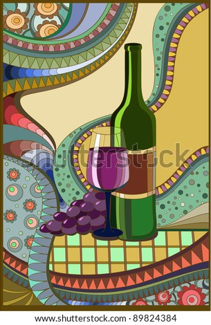 Stained-glass window Wine, Raster version - stock photo