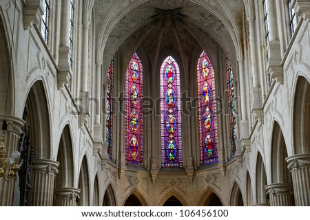 Stained glass windows Church of Saint-Germain-l'Auxerrois, Paris, France - stock photo