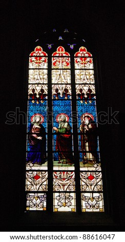 Stained glass windows in Notre Dam de Luxembourg, The Grand Duchy of Luxembourg