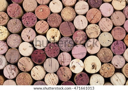 Stained wine corks horizontal background
