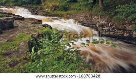 Stainforth waterfall, Yorkshire Dales National Park - stock photo