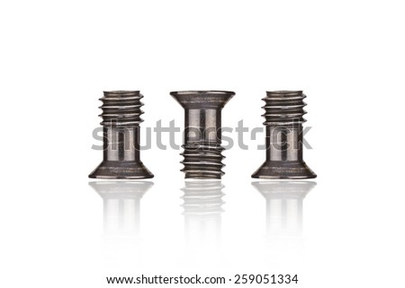 Stainless Black Screws ( bolts ) or nuts on the white background - stock photo