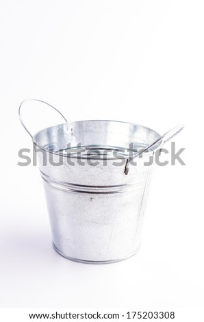 Stainless bucket on isolated white background - stock photo
