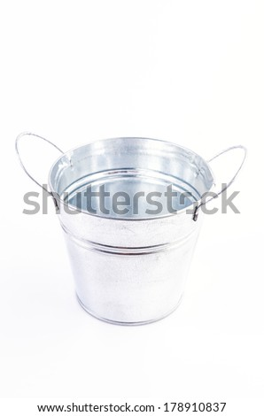 Stainless bucket on isolated white background