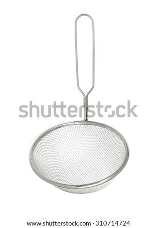 Stainless Colander isolated on white background - stock photo